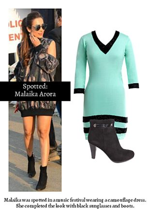 Green Dresses with Black Boots. Online shopping look by Ojasvi