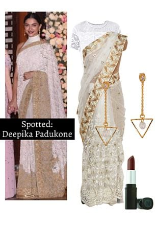 White Sarees, White Tops, Gold Earrings with Brown Lipstick. Online shopping look by Ojasvi