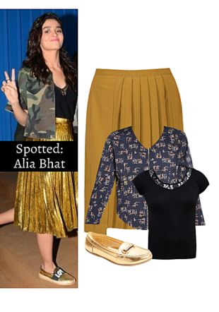 Black Tops, Multi Skirts, Gold Loafers & Mocassins with Blue Jackets. Online shopping look by Ojasvi
