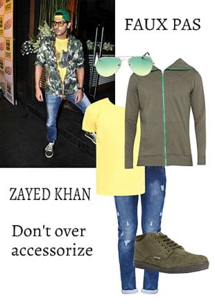 Blue Jeans, Yellow T Shirts, Green Sweatshirts, Green Shoes with Silver Sunglasses. Online shopping look by Shawn