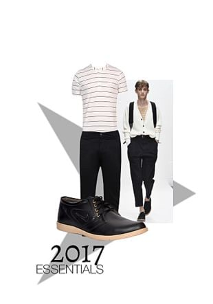 Black Casual Trousers, Black Casual Shoes with White T Shirts. Online shopping look by Gargi