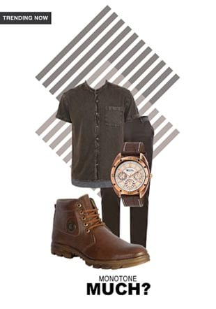 Brown Boots, Green Casual Trousers, Brown Casual Shirts with Brown Analog Watches. Online shopping look by Stuti