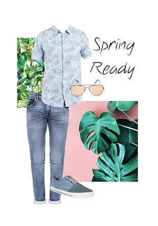 Blue Casual Shirts, Blue Jeans, Blue Shoes with Brown Sunglasses. Online shopping look by Shawn