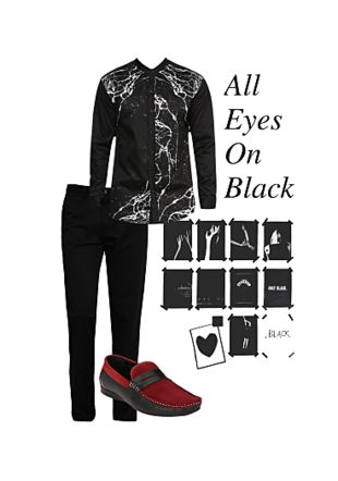 Black Casual Shirts, Black Casual Trousers with Red Loafers. Online shopping look by Shawn