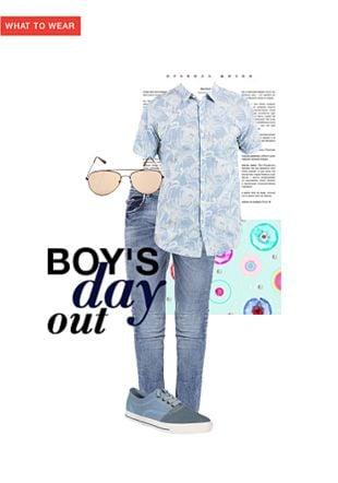 Blue Casual Shirts, Blue Jeans, Blue Shoes with Brown Sunglasses. Online shopping look by Rina Walia S