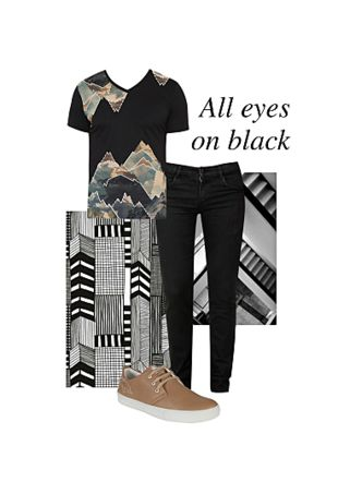 Black T Shirts, Black Jeans with Beige Shoes. Online shopping look by Shawn