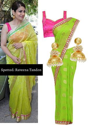 Green Sarees, Pink Blouses with Gold Earrings. Online shopping look by Ojasvi