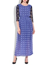 Blue Lace,polygeorgette Dress - By