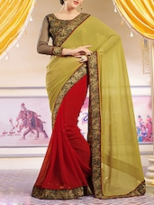 Olive, Red Georgette Half And Half Saree With Blouse - By