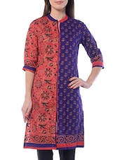 Purple & Red Printed Cotton Kurta - By