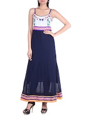 Navy Blue,white Georgette A Line Kurta - By