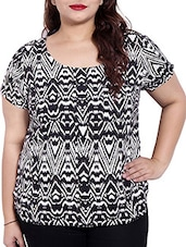 Black, White Colored Rayon Printed Top - By