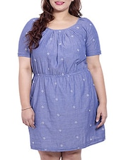 Blue Colored Cotton  Fit And Flare Dress - By