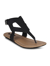 Black Leatherette Toe Seperators Sandal - By