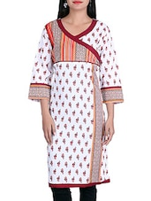 White,brown Cotton Regular Kurta - By