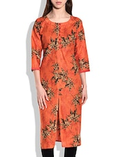 Orange,brown Cotton Regular Kurta - By