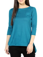 Sea Green Cotton High Low Top - By