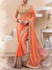 Orange Art Silk, Net Half And  Saree - By