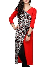Red & Black Poly Crepe Asymmetric Kurta - By