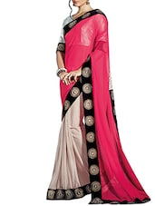 Pink , Black Faux Georgette Embroidered  Saree - By