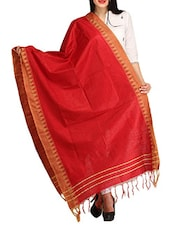 Maroon Viscose Plain  Dupatta - By