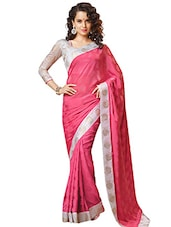 Pink Georgette Bordered  Saree - By