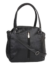 black leatherette structured bags handbag -  online shopping for handbags