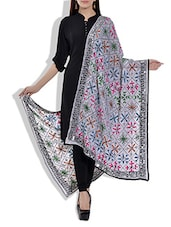 White Poly Georgette Phulkari Dupatta - By