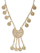 Golden Casted Metal Alloy Long  Necklace - By