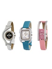 Oleva Ladies Pu Strap Watch Set of 3 OVD 162 -  online shopping for Wrist watches
