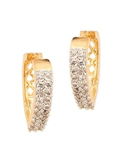 Crystals  Embellished Gold Plated Stud Earrings - By