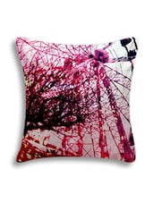 White Digital Printed Cotton Cushion Cover - By