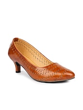 brown leatherette slip on pumps -  online shopping for pumps