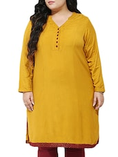 Mustard Rayon Regular Kurta - By