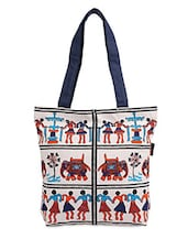 White-Multicolored Printed Canvas shopping Bag -  online shopping for Shopping Bags