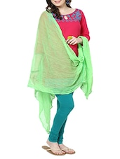 Fluorescent Green Chiffon Plain  Dupatta - By