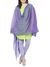 Purple Chiffon Plain  Dupatta - By