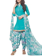 aqua blue & white poly crepe patiyala suits unstitched suit -  online shopping for Unstitched Suits