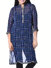 Blue, Black Poly Georgette Regular Kurta - By