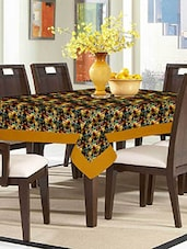 Lushomes Digital Printed Cream Themed Table Cloth For 6 Seater - By