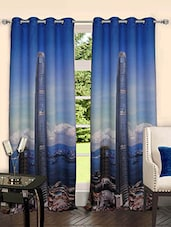Lushomes Digitally Printed Skyscraper Polyster Blackout Curtains With 8 Metal Eyelets For Doors - By