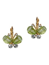 Green Metal Alloy With Stones Earrings - By