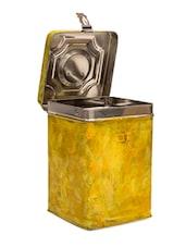 Yellow Handpainted Stainless Steel  Cookie Jar - By