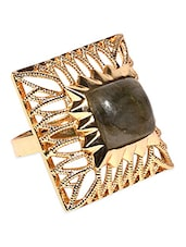 Gold Plated Black Stone Ring -  online shopping for rings