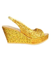 Glittery Golden Peep Toes Wedges - By