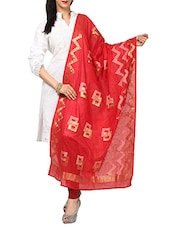 Kataan Bazaar Geometric Pattern With Zari Work Red Banarasi Dupatta - By