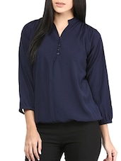 navy blue poly crepe top -  online shopping for Tops
