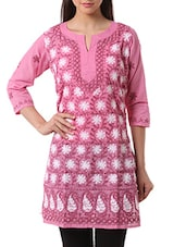 Pink Cotton Chikankari Kurta - By