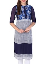 Navy Blue , White Satin Kurta - By