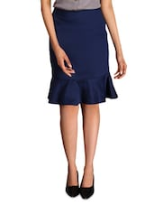 Blue Cotton Satin And Lycra  Peplum Skirt - By